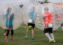 Bubble Soccer for a Hen Activity