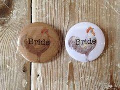 White Hen Bride Badge