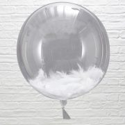 White Feather filled Orb Balloons