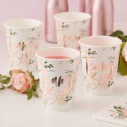 Team Bride - Floral Paper Cups