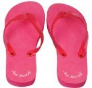 Ladies Just Married Pink Flip Flops