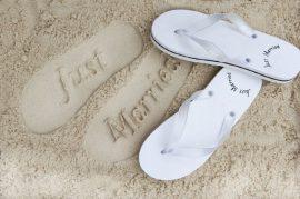 Ladies Just Married White Flip Flops