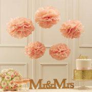 Tissue Paper Pom Poms - Pastel Pink
